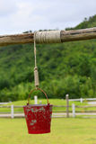 Red bucket hanging in pasture. The red bucket hanging in pasture stock photo