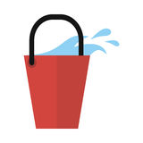 Red bucket Icon with Water . Cleaning Tool Royalty Free Stock Image