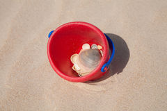 Red bucket on sand with sea shells Royalty Free Stock Photography