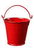 Red bucket. Shiny isolated household object iron metallic metal handle housework bucket empty pail background red royalty free stock image