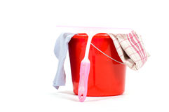 Red bucket with windows cleaning tools Royalty Free Stock Photography