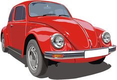 Red `Bug`. Red VW `bug` car.  include AI v10 file without transparency, gradients, trace and effects Royalty Free Stock Photos