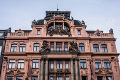 Red building in baroque style on Wenceslas Square stock photo