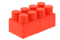 Red building block - no trademarks. Real macro of a red building block - no trademarks, pure white background Royalty Free Stock Photography