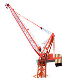 Red building crane isolated on white Royalty Free Stock Image