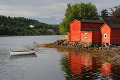 Red building and dinghy Royalty Free Stock Photos
