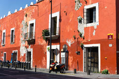 Red Building in Downtown Puebla. Mexico Stock Image