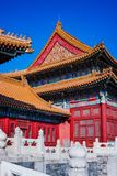 Old building in Forbidden City. Red building with golden roofs in the famous forbidden city. The forbidden city was the Chinese imperial palace from the Ming Royalty Free Stock Photos