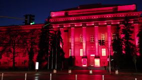 Red building of Kiev National University, Ukraine. The Red University Building (Taras Shevchenko University) is the principal and oldest 4-story campus of the stock footage