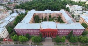 Red building of Taras Shevchenko University cityscape sights in Kyiv of Ukraine stock video