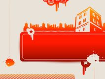 Red buildings. Vector poster to subjects construction, city, town landscape Stock Photography