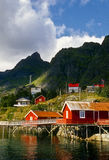 Red Buildings, Lofoten Islands, Norway. Red buildings on stilts over the water in a village known for its fishing industry on the Lofoten Islands, off the coast Stock Image