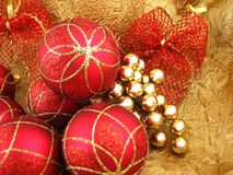 Red bulbs with ribbon Royalty Free Stock Image