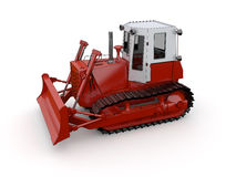 Red buldozer. Isolated red Buldozer. Rendered with vray 1.50 Sp2 Royalty Free Stock Photos