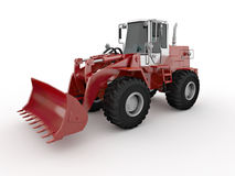 Red buldozer. Isolated red buldozer. Rendered with vray 1.50SP2 Royalty Free Stock Photography