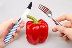 Red bulgarian pepper knife and fork Stock Photos