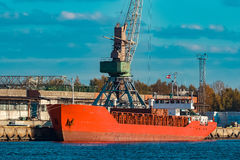 Red bulk carrier Royalty Free Stock Image