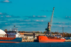 Red bulk carrier Royalty Free Stock Images