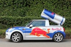 Red Bull advertising Mini Cooper car in Denmark royalty free stock image