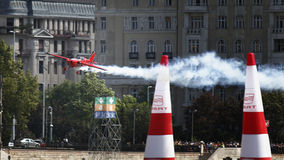 Red Bull Air Race. BUDAPEST - AUGUST 18: An unidentified light air craft in training for Red Bull Air Race competition August 18, 2009 in Budapest, Hungary Royalty Free Stock Image