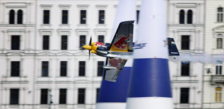 Red Bull Air Race. BUDAPEST - AUGUST 18: An unidentified light air craft in training for Red Bull Air Race competition August 18, 2009 in Budapest, Hungary Royalty Free Stock Photos