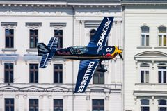 Red Bull Air Race 2015 Challenger Class Extra 330 aircraft over Danube river in Budapest downtown royalty free stock photo