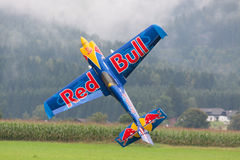 Red Bull - Aircraft - Model Aircraft - low wing aerobatics. Planes, gliders and model aircraft on a flight show Stock Photo