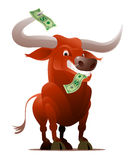 Red Bull as a Stock Market Player. Metaphoric Stock Market Bull with dollar bills royalty free illustration
