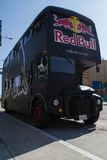 Red Bull Bus on street in the Long Beach. LONG BEACH, CA - SEP 21: Red Bull Bus on street in the Long Beach on september 21, 2013 in Long Beach, CA Stock Images