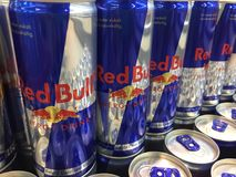 Red Bull cans stock image