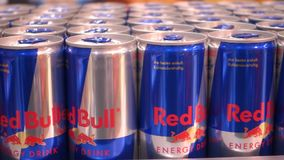 Red Bull cans stock video footage