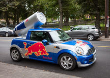 Red Bull Car. A Red Bull mini cooper publicity car with a can of Red Bull drink in Halifax, Nova Scotia, Canada Royalty Free Stock Photo