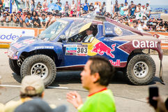 Red Bull car at Rally Dakar 2013 Royalty Free Stock Images
