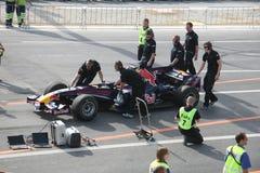 Red Bull che corre macchina da corsa fotografia stock