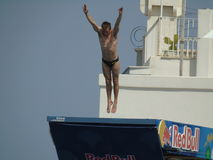 Red Bull Cliff Diving Polignano a Mare 2017. July 22 - 2017, Polignano a Mare BA, South Italy: Red Bull Cliff Diving Polignano a Mare 2017 Royalty Free Stock Photo
