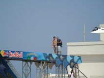 Red Bull Cliff Diving Polignano a Mare 2017 Royalty Free Stock Images