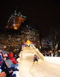 Red Bull Crashed Ice. QUEBEC CITY, CANADA - JANUARY 23:  Red Bull Crashed Ice (A combination of hockey, downhill skiing and boardercross) on January 23, 2009 Royalty Free Stock Photography