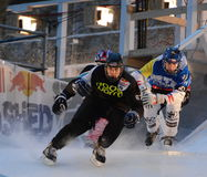 Red Bull Crashed Ice competition Trio stock photography