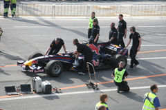 Red Bull dat Raceauto rent Stock Foto
