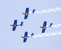 Red Bull display aerobatic team in a formation at Aero India Show 2013. Stock Image