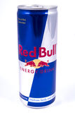 Red Bull Energy Drink. LONDON, UK - JANUARY 4TH 2017: A studio shot of Red Bull Energy Drink over a plain white background, on 4th January 2017 Royalty Free Stock Photography