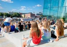 Red Bull Flugtag händelse i Oslo, Norge Augusti 2015 Royaltyfria Foton