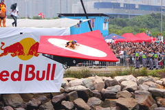 Red Bull Flugtag Hong Kong 2010. Participants and their flying machine take off royalty free stock image