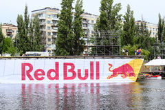 Red bull flugtag preparation Royalty Free Stock Image