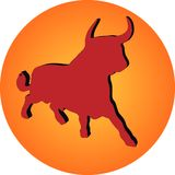 Red bull on gradient circle Royalty Free Stock Images