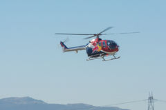 Red Bull helicopter. Lakeview Terrace, CA, USA - June 20, 2015: Red Bull helicopter during Los Angeles American Heroes Air Show, event designed to educate the stock image