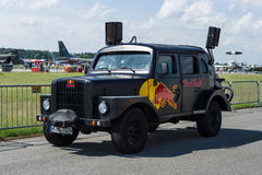 Red Bull Hot Truck on the airfield. Royalty Free Stock Photo