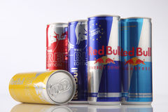 Red bull. Kuala Lumpur,Malaysia,5th Aug 2016,red bull group of aluminum can on the white background Royalty Free Stock Photos