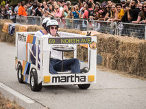 Red Bull Martha Racers 2. The Martha race team heading downhill in their bus at the 2015 Red Bull soapbox race in Atlanta, Georgia on Saturday, October 24th Stock Photos
