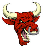Red bull mascot. An aggressive tough mean red bull sports mascot character stock illustration